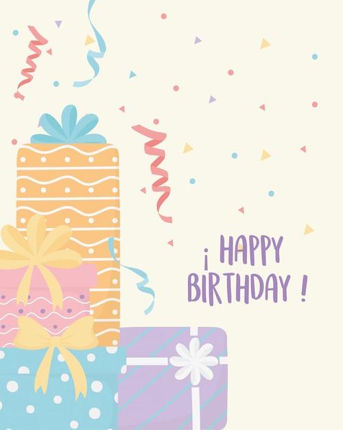 Joyeux Anniversaire Boîtes Cadeau Surprise Célébration Décoration Carte Vecteur Premium