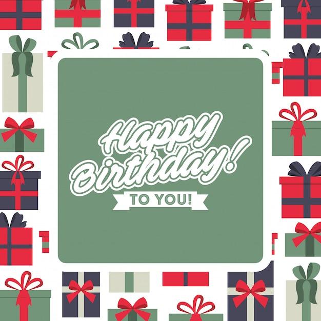 Joyeux anniversaire carte de voeux fond de célébration avec cadre de boîtes de cadeau Vecteur Premium