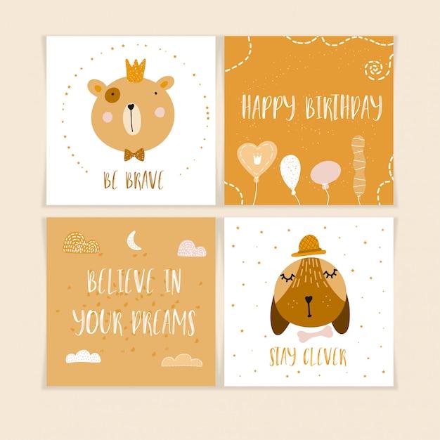 Joyeux anniversaire cartes postales avec des animaux mignons Vecteur Premium
