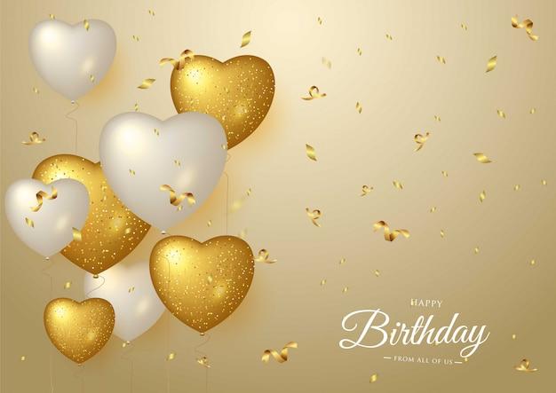 Joyeux anniversaire célébration fond doré Vecteur Premium