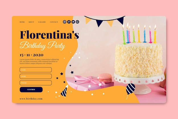 Joyeux Anniversaire Délicieux Gâteau Page De Destination Vecteur gratuit