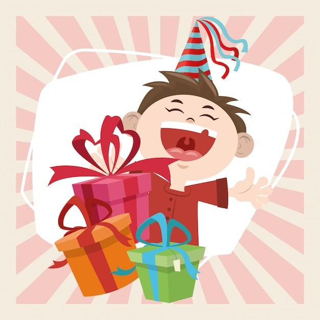 Joyeux Anniversaire Drole Garcon Avec Chapeau De Fete Et Cadeaux Vecteur Premium