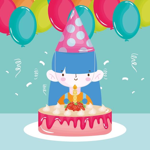 Joyeux Anniversaire Fille Avec Des Ballons De Gâteau De Chapeau De Fête Vecteur Premium