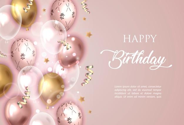 Joyeux anniversaire fond rose avec des ballons. Vecteur Premium