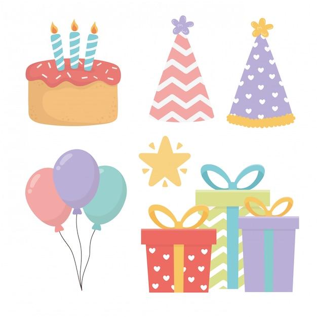 Joyeux anniversaire icônes définies Vecteur Premium