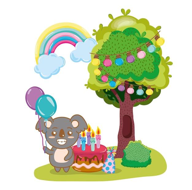 Joyeux anniversaire koalass Vecteur Premium