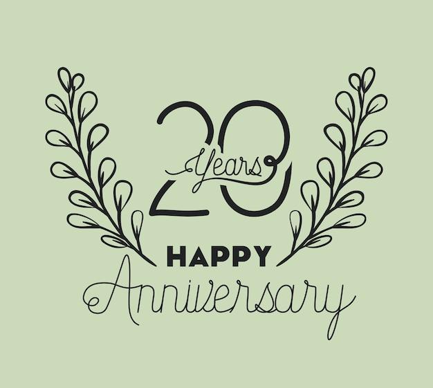 Joyeux anniversaire numéro vingt avec couronne Vecteur Premium