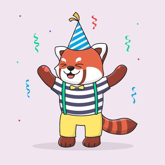 Joyeux Anniversaire Panda Rouge Avec Chapeau Et Tissu Mignon Vecteur Premium