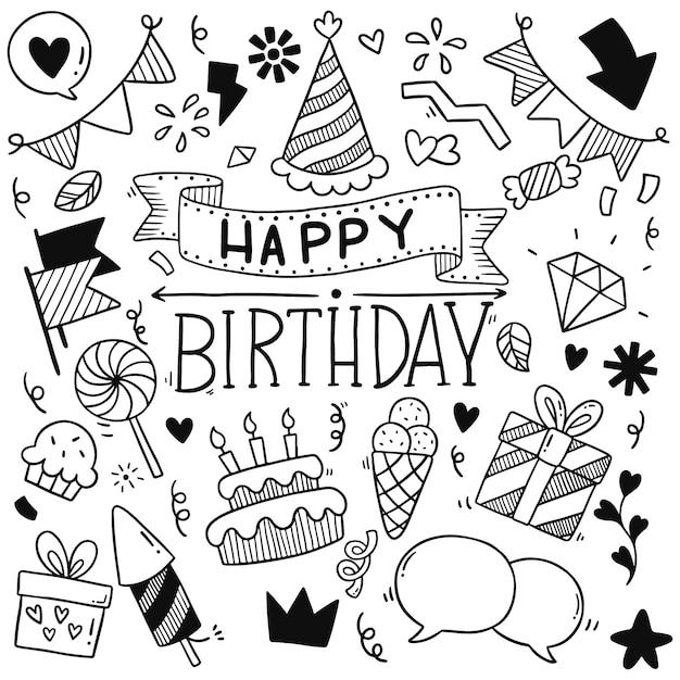 Joyeux anniversaire, partie dessinée à la main doodle ornements Vecteur Premium