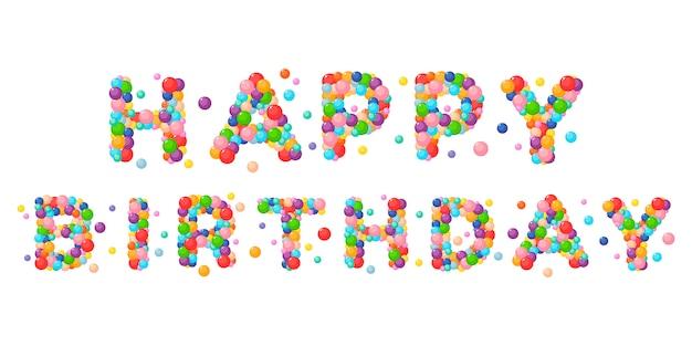 Joyeux anniversaire de phrase de dessin animé de vecteur pour enfants boules colorées. Vecteur Premium