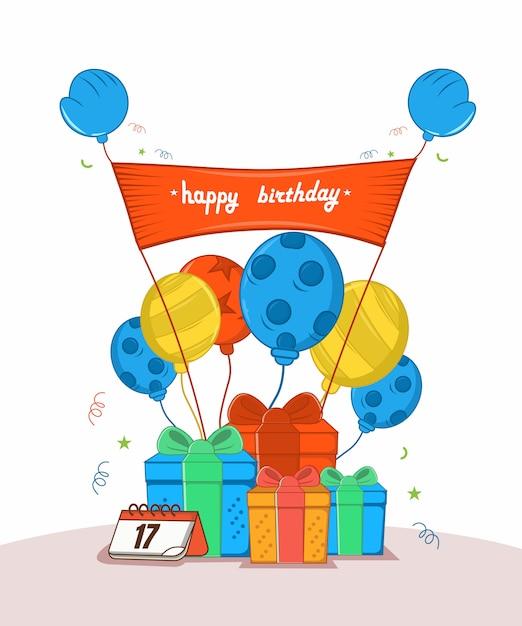 Joyeux Anniversaire Avec Trois Donner, Six Ballon, Calendrier, Affiche écorcher, Vecteur Premium