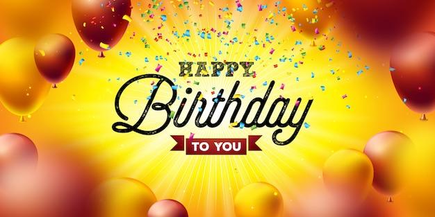 Joyeux anniversaire vector design Vecteur Premium