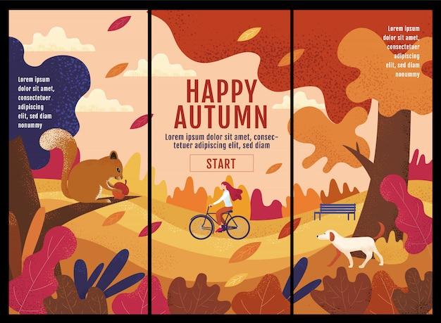 Joyeux automne, thanksgiving, femmes faisant du vélo dans le jardin d'automne. Vecteur Premium
