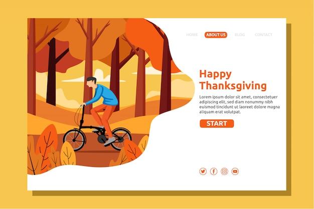 Joyeux Automne, Thanksgiving, Garçon à Bicyclette Dans Le Jardin D'automne Vecteur Premium