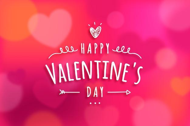 Joyeux Bokeh Valentine Arrière-plan Flou Vecteur gratuit
