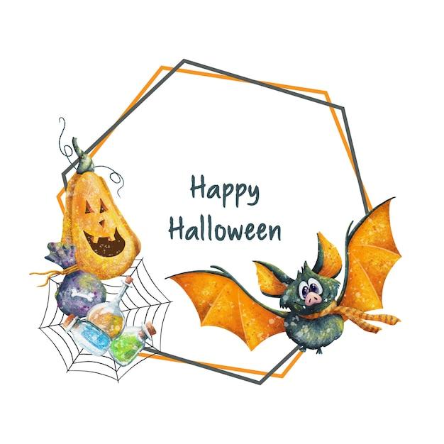 Joyeux Cadre D'halloween à La Citrouille Et à La Batte Vecteur Premium