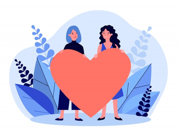 Joyeux Couple Gay Féminin Tenant Coeur Rouge Vecteur Premium