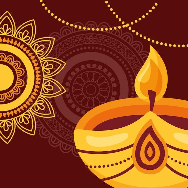 Joyeux diwali affiche du festival plat Vecteur Premium