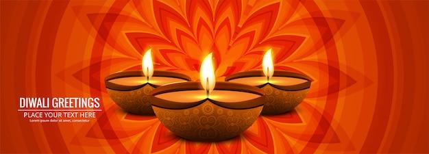 Joyeux diwali bannière colorée de festival indien traditionnel Vecteur gratuit