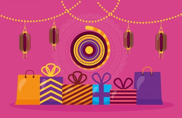 Joyeux diwali card avec des cadeaux et des lampes suspendues Vecteur gratuit