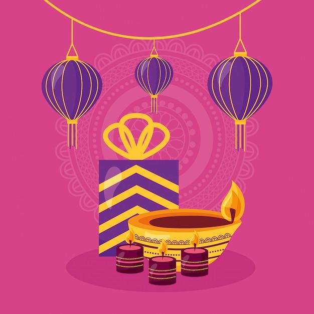 Joyeux diwali carte avec icône de fête cadeau et bougie Vecteur gratuit
