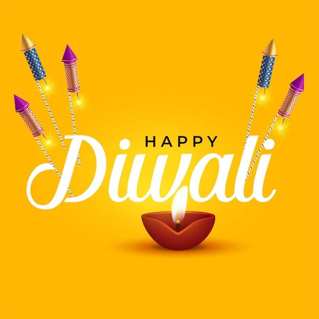 Joyeux diwali design élégant avec diya et cracker cracker Vecteur gratuit