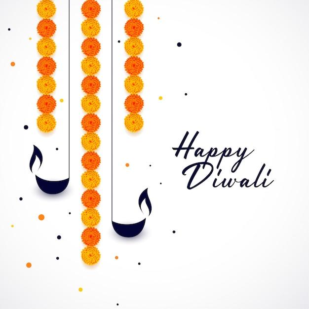 Joyeux diwali diya et fond de décoration de fleurs Vecteur gratuit