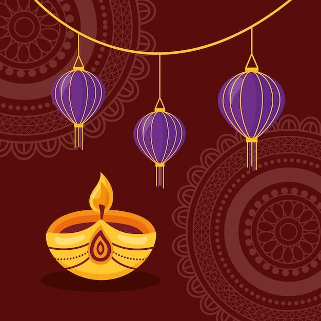 Joyeux diwali festival affiche design plat Vecteur gratuit