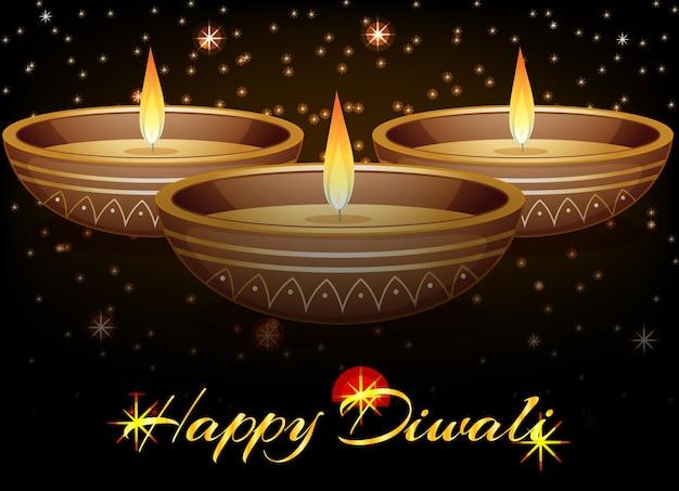 Joyeux diwali festival carte de voeux Vecteur gratuit