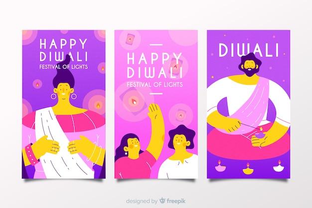 Joyeux diwali instagram histoires pack Vecteur gratuit
