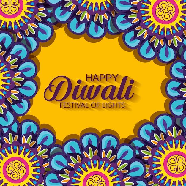 Joyeux Diwali Avec Des Mandalas Vecteur gratuit