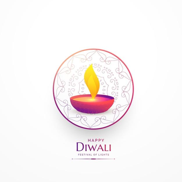 joyeux diwali simple salutation avec vibrant diya Vecteur gratuit