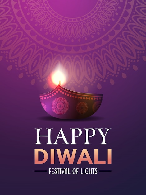 Joyeux diwali traditionnel indien lumières hindou festival célébration vacances bannière Vecteur Premium