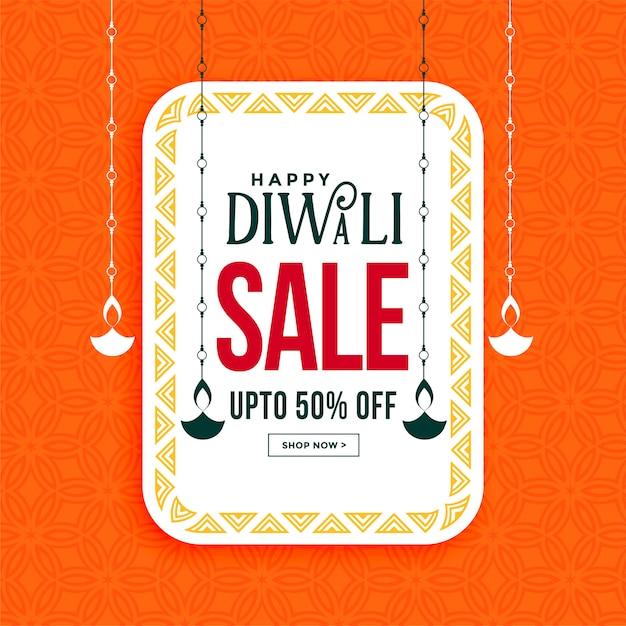 Joyeux Diwali Vente Bannière Avec Pendaison Diya Vecteur gratuit