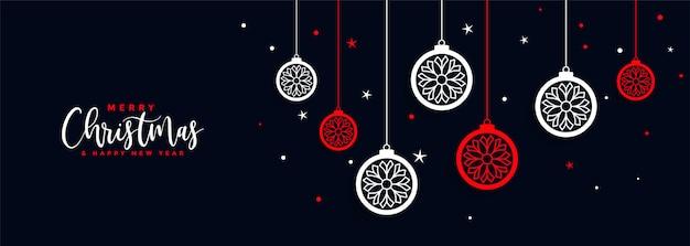 Joyeux festival de bannière de décoration de boule de noël Vecteur gratuit