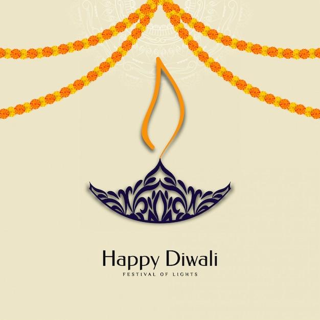Joyeux festival de diwali avec guirlande et diya Vecteur gratuit