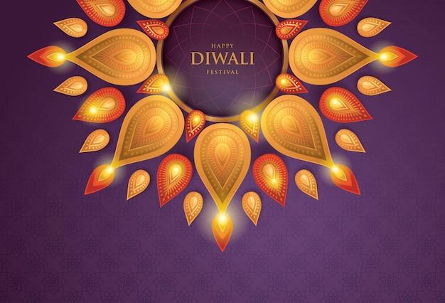 Joyeux festival de diwali avec lampe à huile, art du papier Vecteur Premium