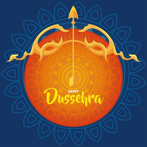 Joyeux Festival De Dussehra Avec Arc D'or Et Flèche Sur Fond Orange Et Bleu Vecteur Premium