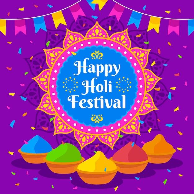 Joyeux Festival De Holi Avec Gulal Coloré Vecteur gratuit