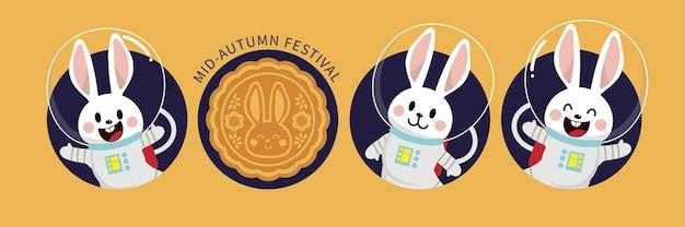 Joyeux Festival De Mi-automne Avec Lapin Mignon Vecteur Premium