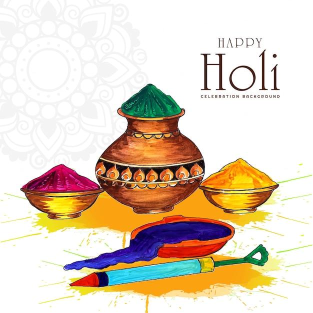 Joyeux Festival De Printemps Indien Holi De Carte De Voeux De Couleurs Vecteur gratuit