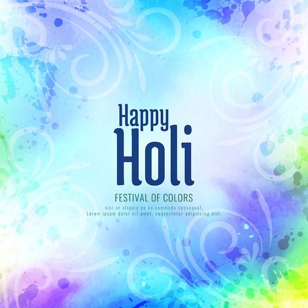 Joyeux Festival Religieux Indien Holi Vecteur Premium