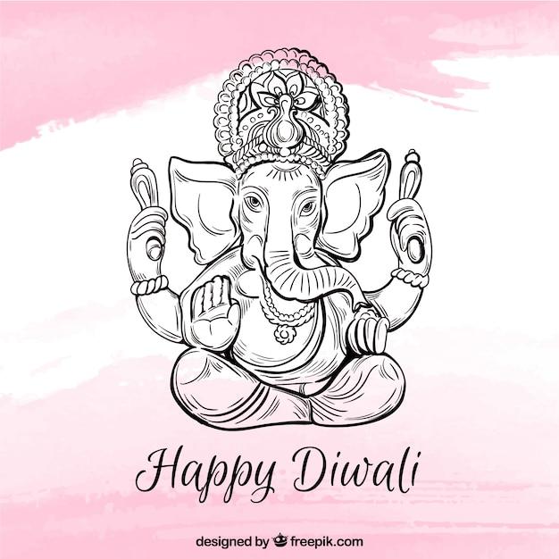 Joyeux Fond De Diwali Avec Ganesha Vecteur gratuit