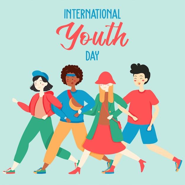 Joyeux fond de la journée internationale de la jeunesse Vecteur Premium