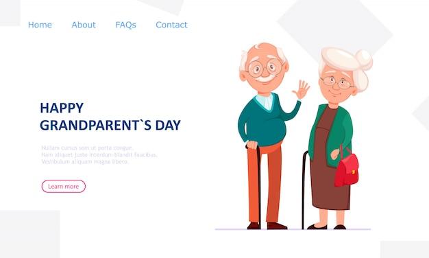 Joyeux Grand-père Et Grand-mère Vecteur Premium
