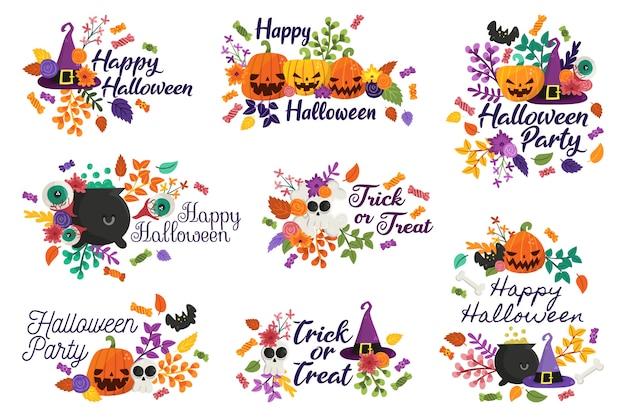 Joyeux halloween et badges ou friandises Vecteur Premium
