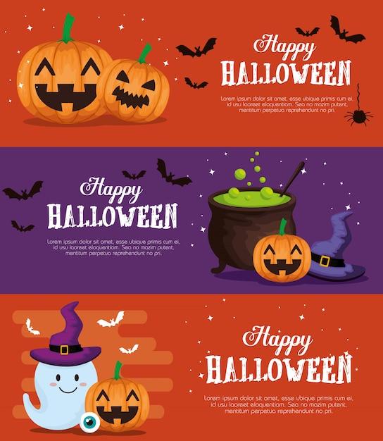 Joyeux halloween bannière ensemble Vecteur gratuit