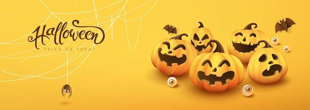 Joyeux Halloween Bannière Ou Fond D'invitation à Une Fête Vecteur Premium