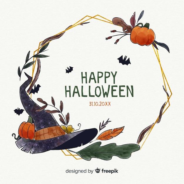 Joyeux halloween cadre aquarelle de nuit Vecteur gratuit