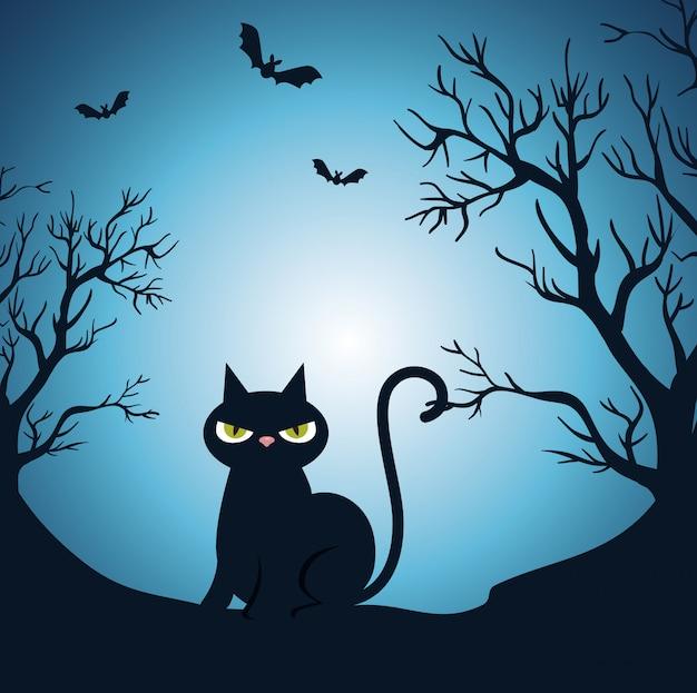 Joyeux halloween avec un chat noir dans la nuit Vecteur gratuit
